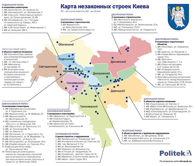 Черный список незаконных строек Киева - СМИ (инфографика)