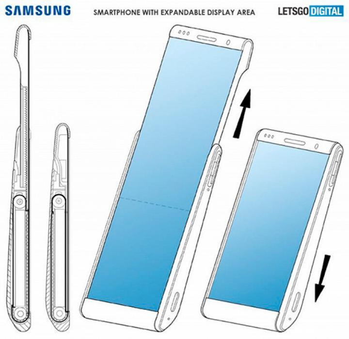 Samsung запатентовал дизайн смартфона с раздвижным экраном (фото)